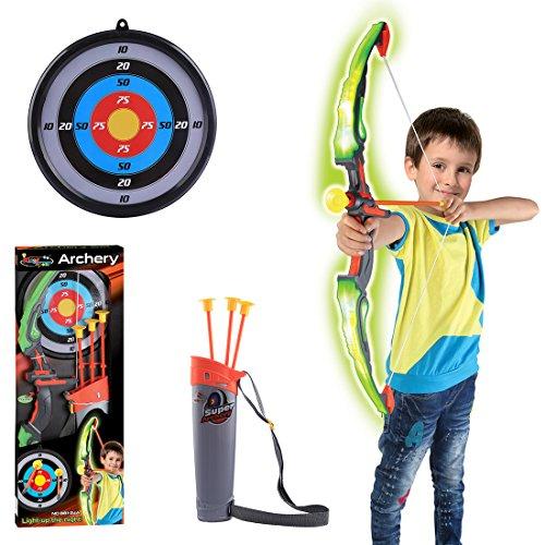 Mecotech Pijl en boog kinderen led-lichten boogschieten schietspel met 3 pijlen zuignap, 1 doelschijf, 1 boog en 1 pijlhouder, cadeau voor jongens vanaf 6 jaar (groen)