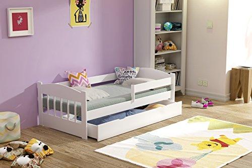 Kinderbed massief hout 140x70 160x80 met lade matras wit grenen (80 x 160 cm, wit)